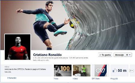 cristiano ronaldo alcanza los 50 millones de seguidores en facebook