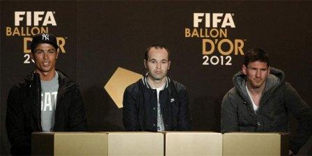 cristiano ronaldo iniesta y messi- rueda de prensa balon de oro 2012