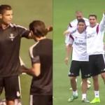 Cristiano Ronaldo se lleva a James Rodríguez a su rondo en el entrenamiento del Real Madrid